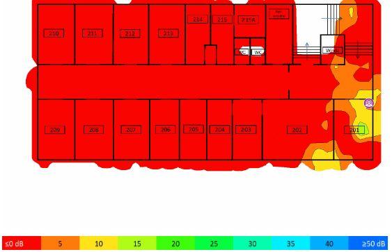 TamoGraph Site Survey - stosunek sygnału do interferencji 2,4GHz AP01