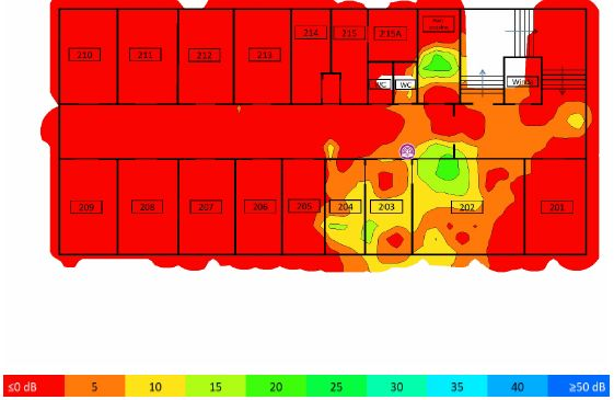 TamoGraph Site Survey - stosunek sygnału do interferencji 2,4GHz AP02