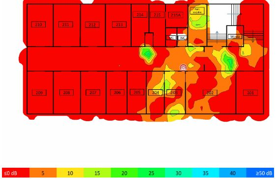 TamoGraph Site Survey - stosunek sygnału do interferencji 5GHz AP02