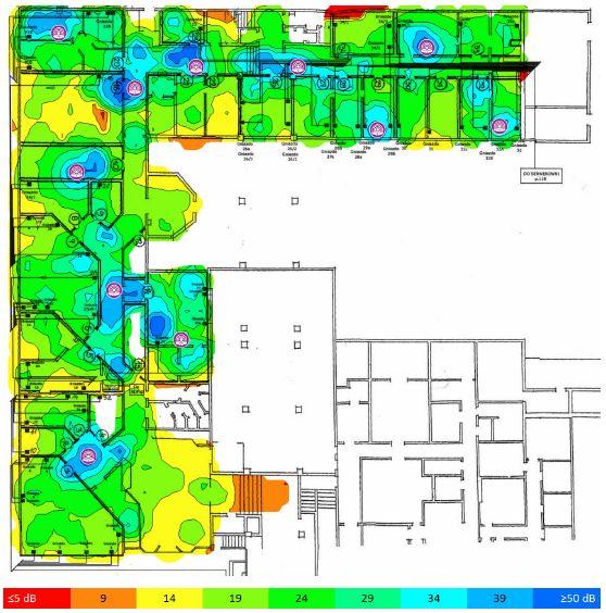 TamoGraph Site Survey stosunek sygnału do szumów 2,4 GHz