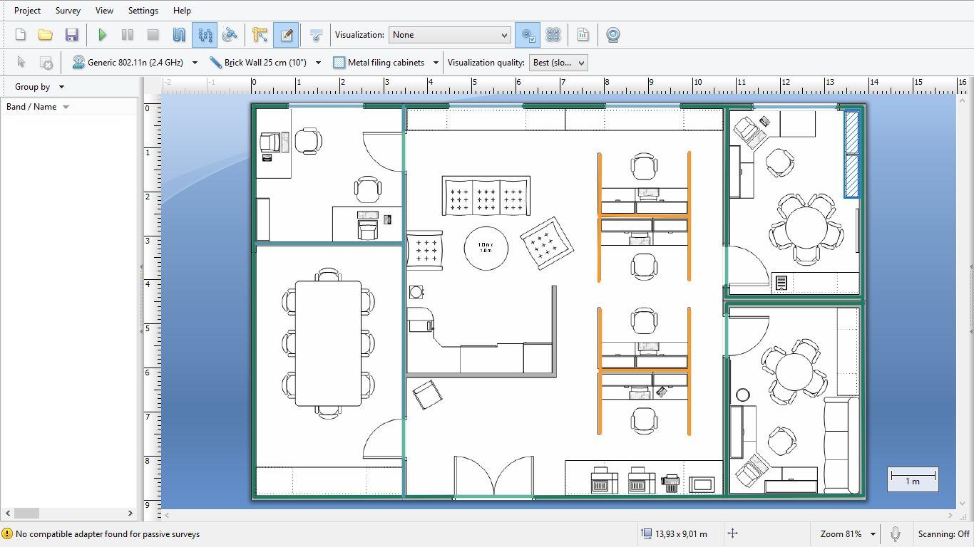 sieć wifi nanoszenie kształtu i konstrukcji budynku